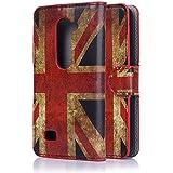 tinxi®Kunstleder Tasche für LG Leon Tasche Schutz Hülle Schale Etui Case Cover Standfunktion mit Karten Slot UK Flagge