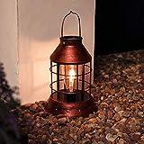 Farol de filamento de cobre, funciona con energía solar, con luz LED, para colgar en exteriores