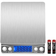 lcz Balance numérique 3000g/0.1g, mini digitalek üchen Balance, Pèse-lettre, Haute Précision jusqu'à 0,1g (3kg Poids maximal) PC Fonction, fonction tare, mesurer des ingrédients, doré, timbres