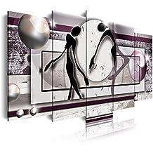 DEKOARTE 85 - Cuadro moderno en lienzo 5 piezas estilo abstracto con figuras, 150x3x80cm