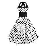GreatestPAK Femme Année 50 Audrey Hepburn Impression Floral Dot Bodycon Robes sans Manches Halter Vintage Soirée Cocktail Balançoire Robe 6 Couleurs