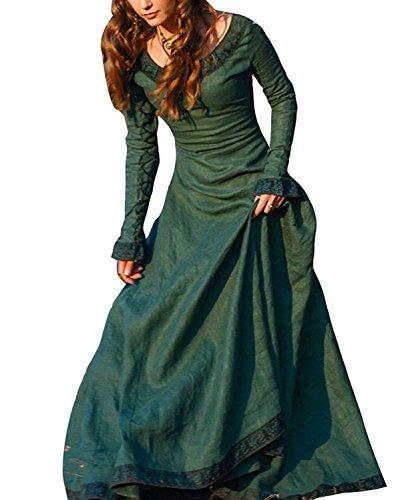 (ORANDESIGNE Vintage Mittelalter Kleid Cosplay Kostüm Langarm Kleid Prinzessin Gothic Kleid Übergröße Kleid Grün DE 38)