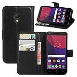HualuBro Alcatel Pixi 4 (5 Zoll) 4G Hülle, Leder Brieftasche Etui Tasche Schutzhülle HandyHülle [Standfunktion] Lederhülle Flip Case Cover für Alcatel OneTouch Pixi4 5.0 Zoll 4G 5045X (Schwarz)