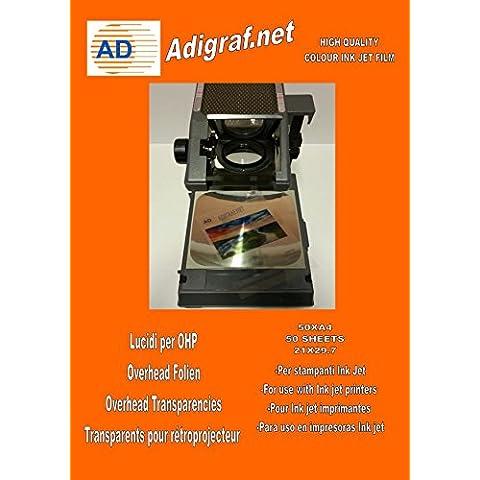 Scatola di 50fogli lucidi per stampanti Inkjet, A4OHP per presentazioni professionali