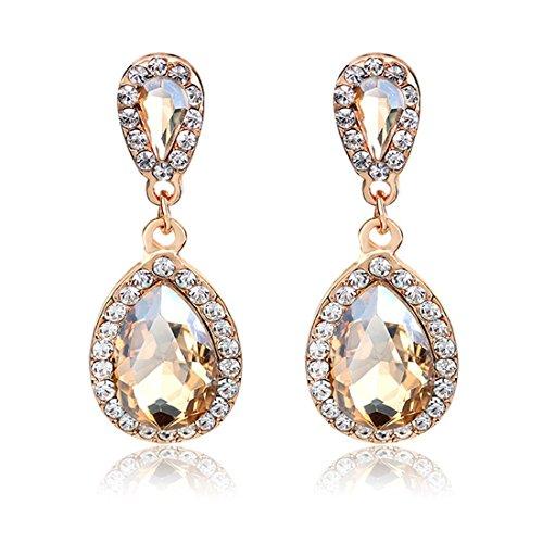 Strass Studded Teardrop di cristallo artificiale gioielli con Bling Pietra di moda Clip On donne di goccia (Argento)