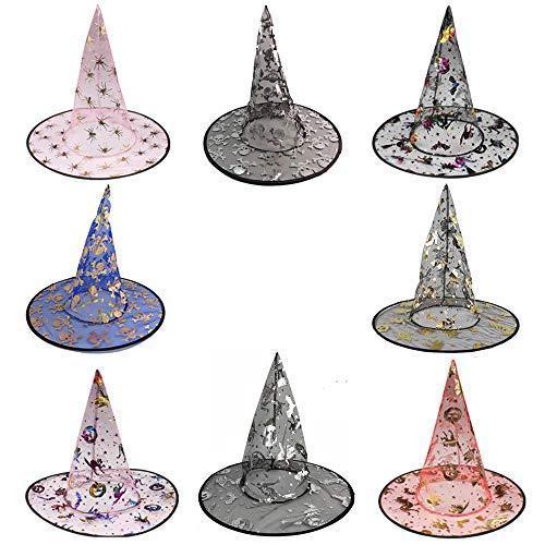 WasonD Halloween Hexenhüte Kinder Mädchen Hexenkostüm Hut, Zufälliges Muster Hexenhut, Einheitsgröße (Stock Person Halloween Kostüme)