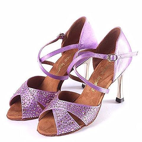 DSAAA femme Table à percer les fonds meubles Cross Strap Clip métal Chaussure de danse,violet,37