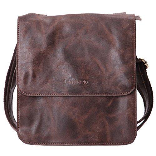 Leathario bolso de hombre de piel auténtico bandolera pequeña bolso mensajero de cuero de hombro para caballeros de tipo casual messenger bag de color marrón