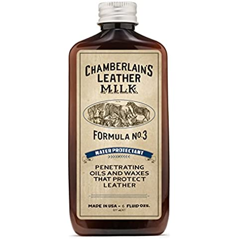 Leather Milk Leather Water Repellent and Protector - Water Protectant No. 3 - All Natural, Non-Toxic Water Proofer and Liquid Sealant. Made in the USA. 2 Sizes. Includes Premium Applicator Pad! by Chamberlain's Leather Milk