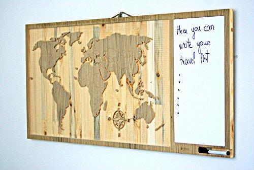 day3dream ® - Weltkarte Memotafel aus Holz - Planungstafel Schreibetafel Wandtafel auf Holz Wanddekoration - Geschenk für Reiseinder Chef Firmengeschenk
