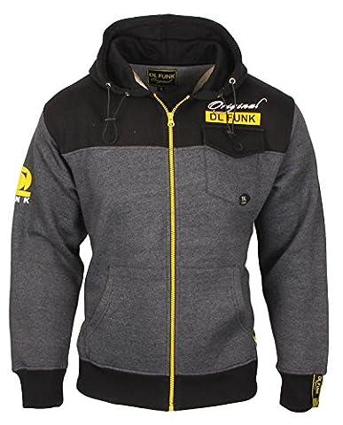 Homme Contraste Fleece Sweat à capuche Sweatshirt DL FUNK Taille S M L XL