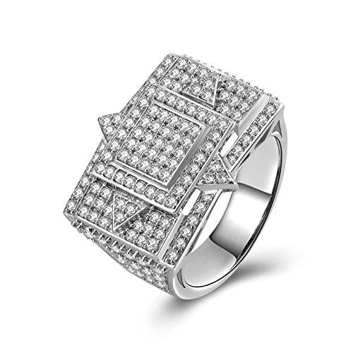 Beydodo anelli donna argento zirconi anello di cristallo con rotonda brillante diamante taglia 25 anello nuziale argento