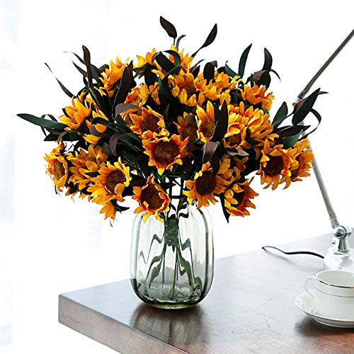 Artificial Dried Flowers - Artificial 6 Heads Yellow Sunflower Silk Real Touch Fake Flowers Bouquet Decoration Wedding Party - Bench Room Black Decor Ghost Dress Fairy Battery Tree Tulip - Stripe Silk Shirt