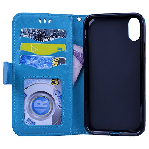 SMART LEGEND Lederhülle für iPhone X Hülle Ledertasche Bunt Einhorn Muster Handyhülle Schutzhülle Premium PU Leder Flip Wallet Case Protective Cover Innere Weiche Silikon Bookcase Handy Tasche Schale  Blau