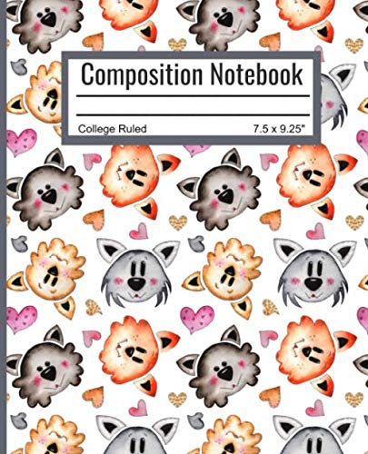 Composition Notebook: College Ruled Blank Writing Notebook Journal Pad Back to School Supplies Diary for Girls Boys Kids Students Teachers Teens Cute Cats Pattern