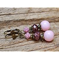 Vintage Ohrringe mit Glasperlen - rosa