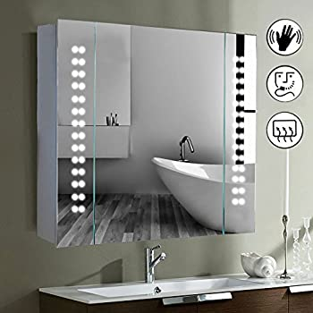 led illuminated bathroom mirror cabinet shaver demister sensor galactic uk