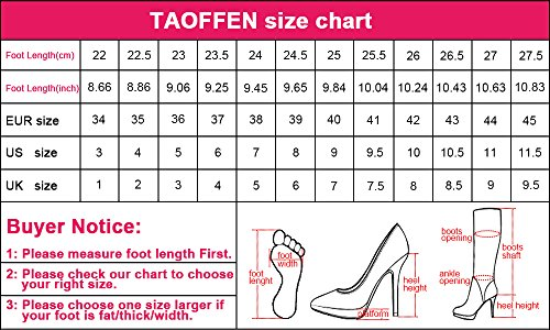 TAOFFEN Damen Elegant Fesselriemen Sandalen Party Dress Blockabsatz Shoes Schwarz