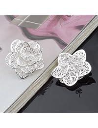 Skyllc® Stud Pendientes Forma Bisutería Hollow flor de las mujeres de plata Rose