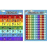 Alphabet Lettres Tableau et Chiffres 1-100 Graphique, 2 Pièces Affiches Éducatives Affiches d'Apprentissage Préscolaire pour les Tout-Petits et les Enfants