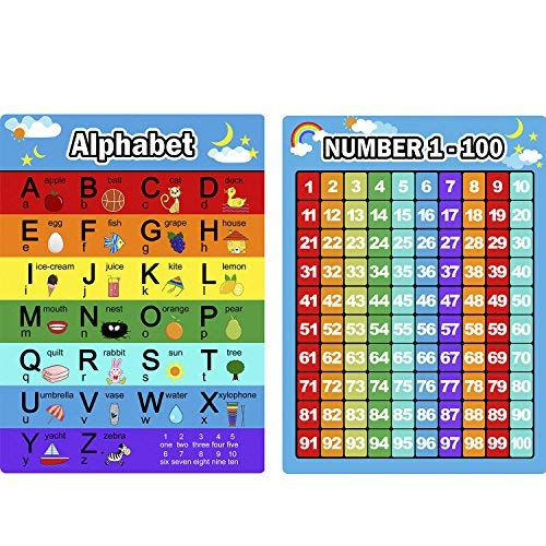 (Lvcky Alphabet Buchstaben Diagramm und Zahlen 1–100Diagramm, 2Stück Educational Poster Preschool Learning Poster für Kleinkinder und Kinder)