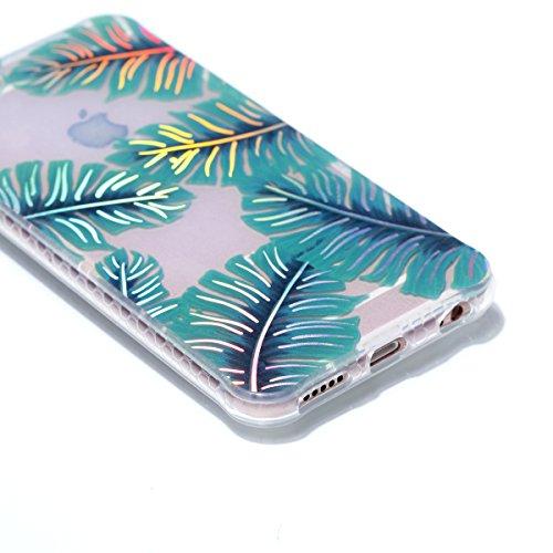 iPhone 6 Plus/6S Plus Coque, Voguecase TPU avec Absorption de Choc, Etui Silicone Souple Transparent, Légère / Ajustement Parfait Coque Shell Housse Cover pour Apple iPhone 6 Plus/6S Plus 5.5 (Placage Placage colorés-Feuilles vertes 06
