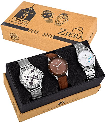 Ziera Analogue Silver Dial Women's & Girl's Combo Of 3 Watch - Zr8012-19-24