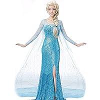 El Reino del Hielo Vestido de Princesa Elsa como Adulto para Disfraz Carnaval Halloween, Espectáculos