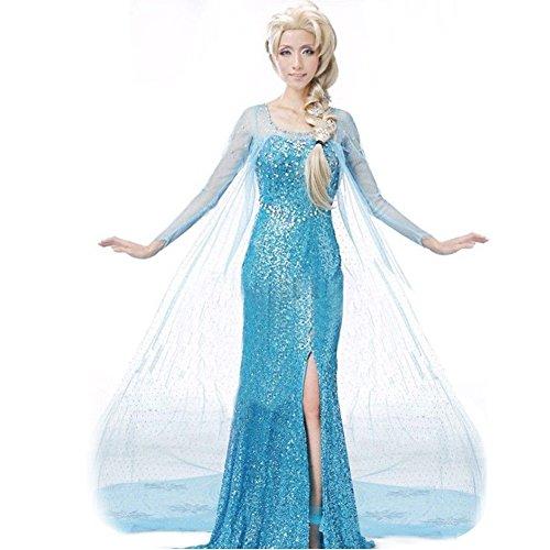 El Reino del Hielo Vestido de Princesa Elsa como Adulto para Disfraz Carnaval Halloween, Espectáculos, Fiestas y Cumpleaños (XL)
