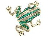 Cristal checo brillante de esmeralda autšŠntica Rana Broche Pin de oro de la joyeršªa