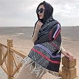 FeiFei156 Écharpe de cachemire de femmes d'hiver épais surdimensionné Pashmina avec pompons Plaid rayé Couverture Châle Écharpe chic (Color : Black, Size : 200 * 70)