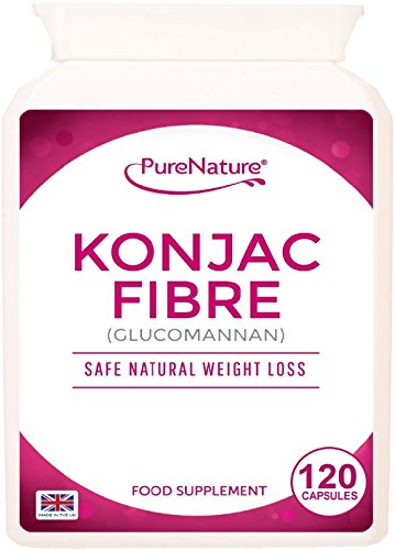 Konjac Fibre Glucomannan 120 capsules Proven Safe Natural Weight Loss Diet Slimming Pills UK Made | FREE 2016 Fast Start Diet Plan | FREE UK DELIVERY