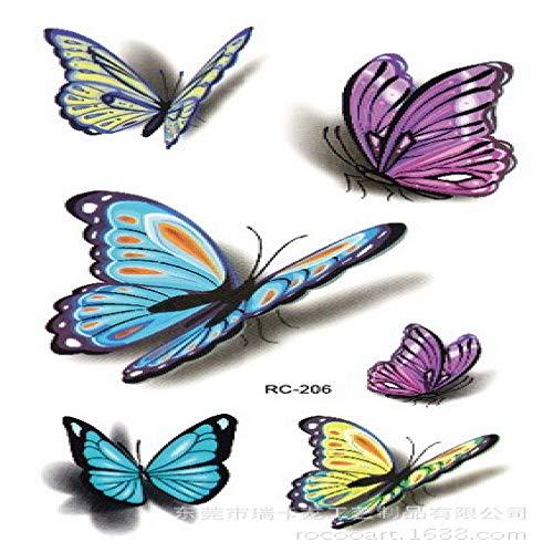 5Pcs-Waterproof Tattoo Sticker Stereo Farbe Schmetterling Sticker 3D Farbe Small Fresh Tattoo Sticker 5Pcs-1 105 * 60mm Agile Stereo