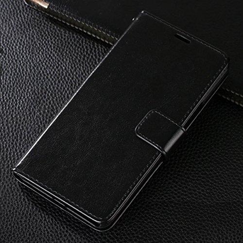 Gionee M6 Plus Hülle,CHENXI Pu Leder Wallet Case Flip Cover Hüllen mit 3 Kartenfächern Magnetverschluss mit Standfunktion Handy Tasche für Gionee M6 Plus Schwarz