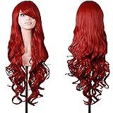 Hrph Las pelucas de pelo rizado peluca de la manera de las mujeres con flequillo rojo oscuro peluca de pelo rizado