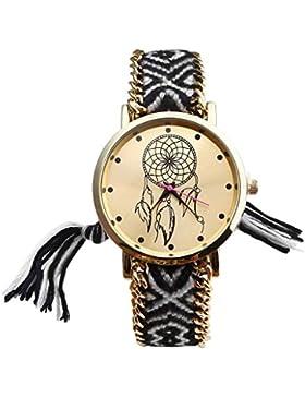 JSDDE Uhren,Damen Ethnisch Dreamcatcher Traumfaenger Freundschaft Braid Armbanduhr gewebte Seil Band Quarzuhr,...
