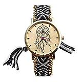 JSDDE Orologio da polso,Retro Le donne del modello dell'Cacciatore di sogni intrecciata corda fascia del braccialetto del quarzo Quadrante (nero)