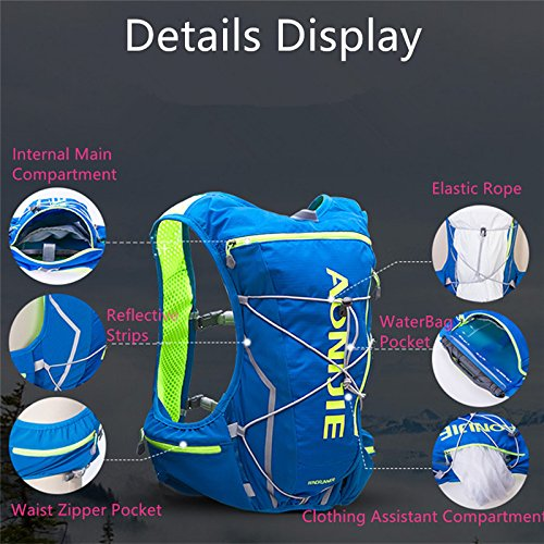 AONIJIE Professional 10L Lightweight Waterproof Cross-country Backpack Running Backpack Marathon Cycling Bags Running Vest Kettle Sport Bag, Blue-M/L