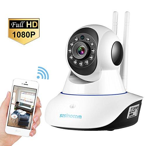 Wifi Kamera 1080P IP Kamera Full HD P2P IR Nachtsicht Bewegungsmelder Eingebautes Mikrofon und Lautsprecher für Zuhause / Baby / Haustiere Monitor Überwachungskamera by SZSINOCAM