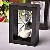 #10: Wooden Sand Timer Clock 1 Minute Sand Hourglass Dining&Barbecue Countdown Timing Bedroom Home Decoration Black White Sand