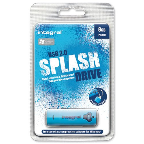 Integral USB Stick 8GB USB 2.0 Splash Drive, blau/INFD8GBSPLB Splash Flash