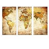 La Vie Tre Quadro Mappa del Mondo Vintage Quadro su Tela Canvas Quadro Olio Pittura Murale Decorativa Wall Art per Decor Casa Studio Ufficio Hotel Regalo 40 * 80cm * 3 Pezzi
