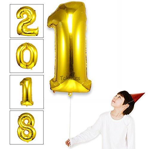 Takefuns Globos de la Letra del Número Gigante DE 40 Pulgadas Globo de Mylar de la Hoja de Helio para Las Decoraciones de la Fiesta de Cumpleaños de la Boda, Plata Brillante, Número 1
