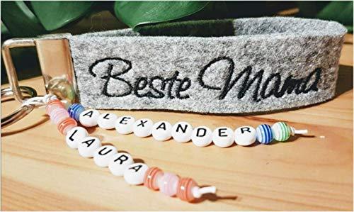 StoffJuLe Beste Mama, Papa, Oma, Opa Schlüsselanhänger Filz mit Namen personalisiert zu Weihnachten/Weihnachtsgeschenk/Nikolaus/Geschenk mit Namen/Schlüsselband mit Wunschtext