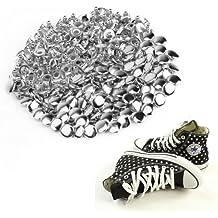 CLE DE TOUS - 100pcs Tachuelas Remaches Punk para Bolsa Calzado Zapatos 8mm Color Plateado