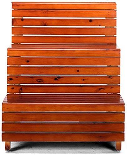 MJK T-Stufenleiter Leiterhocker, Trittleiter Dreischichtiger wasserdichter Trittleiter aus Holz Indoor-Trittleiter Multifunktionshocker,Kastanienbraun -