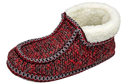 GIBRA® Hausschuhe für Damen, Art. 0916, warm gefüttert, mit Filzsohle, rot, Gr. 36-42 Rot