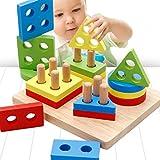 Youkara Tablero de Clasificación Geométrica de Juguete Educativo Apilar y Ordenar Rompecabezas de Rompecabezas de Madera de Color para Niños de 3 Años o Más
