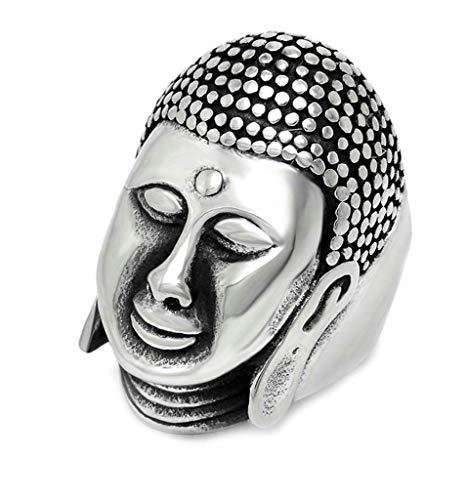 Anyeda Herren Edelstahl Ring Buddha-Ring Schwarzes Silber Herrenringe Rocker Ringgröße 62 (19.7) -