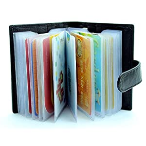 Seeku RFID Protected Black Leather Credit Card Holder Wallet Black Card Case Holder